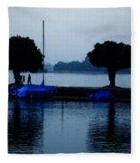By Night Zurich Lake Switzerland Fleece Blanket