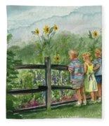 By The Garden Fence  Fleece Blanket