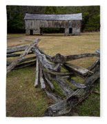 Cable Mill Barn In Cade's Cove No.123 Fleece Blanket