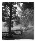 Cades Cove Tennessee In Black And White Fleece Blanket