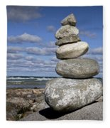 Cairn At North Point On Leelanau Peninsula In Michigan Fleece Blanket