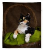 Calico Cat In Basket Fleece Blanket