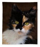 Calico Cat Portrait Fleece Blanket