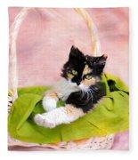 Calico Kitty In Basket Fleece Blanket