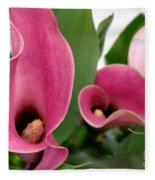 Calla Lilies In Pink Fleece Blanket
