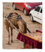 Camel Ready To Take Tourists For A Desert Safari Fleece Blanket