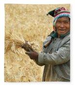 campesino cutting wheat. Republic of Bolivia. Fleece Blanket