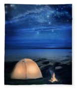 Camping Tent By The Lake At Night Fleece Blanket