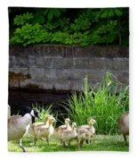 Canada Geese With Goslings Fleece Blanket