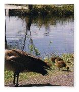 Canadian Geese At Trojan Lake Ny Fleece Blanket