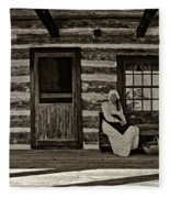 Canadian Gothic Sepia Fleece Blanket