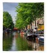 Canal Scene In Amsterdam Fleece Blanket