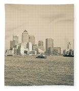 Canary Wharf Cityscape Fleece Blanket