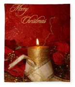 Candle Light Christmas Card Fleece Blanket