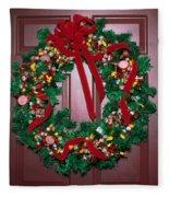 Candy Christmas Wreath Fleece Blanket
