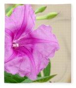 Candy Pink Morning Glory Flower Fleece Blanket