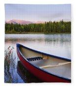 Canoe And Boya Lake At Sunset, Boya Fleece Blanket