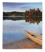 Canoe On A Shore Autumn Nature Scenery Fleece Blanket