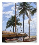 Canoes At Hui O Waa Lahaina Maui Hawaii Fleece Blanket