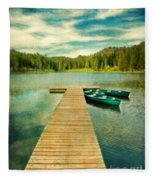 Canoes At The End Of The Dock Fleece Blanket