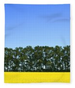 Canola Field And Trees Fleece Blanket