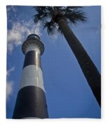 Cape Canaveral Lighthouse With Palm Tree Fleece Blanket