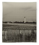 Cape May Light House In Sepia Fleece Blanket