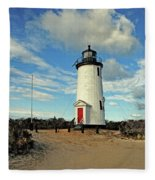 Cape Pogue Lighthouse Marthas Vineyard Fleece Blanket