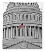 Capitol With Flag Fleece Blanket
