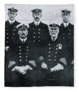 Captain And Officers Of The Titanic Fleece Blanket