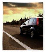 Car On The Road During Sunset Fleece Blanket