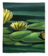 Card Of Frog With Lily Pad Flowers Fleece Blanket