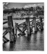 Cardiff Bay Old Jetty Supports Mono Fleece Blanket