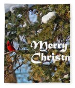 Cardinal Christmas Card Fleece Blanket
