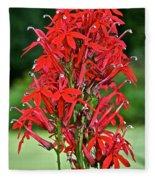 Cardinal Flower Full Bloom Fleece Blanket