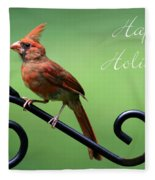 Cardinal Holiday Card Fleece Blanket