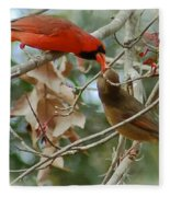 Cardinal Kisses Fleece Blanket