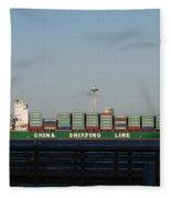 Cargo Ship In Seattle Fleece Blanket