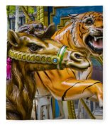 Carousal Camel And Tiger On A Merry-go-round Fleece Blanket