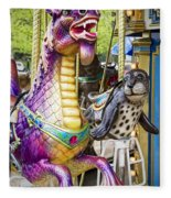 Carousal Dragon And Seal On A Merry-go-round Fleece Blanket