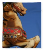 Carousel Horse Against Blue Sky Fleece Blanket
