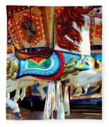 Carousel Horse With Fish Fleece Blanket