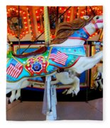 Carousel Horse With Flags Fleece Blanket