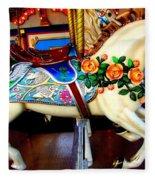 Carousel Horse With Roses Fleece Blanket
