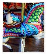 Carousel Horse With Sea Motif Fleece Blanket