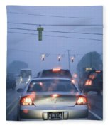 Cars And Traffic Lights In A Rain Storm Fleece Blanket