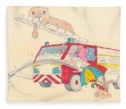 Cartoon Fire Engine And Animals Fleece Blanket