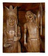 Carved American Indians Fleece Blanket