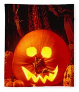 Carved Pumpkin With Fall Leaves Fleece Blanket