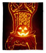 Carved Smiling Pumpkin On Chair Fleece Blanket